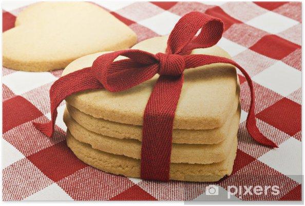 Plakat Serce w kształcie ciasteczka z czerwoną wstążką - Tematy