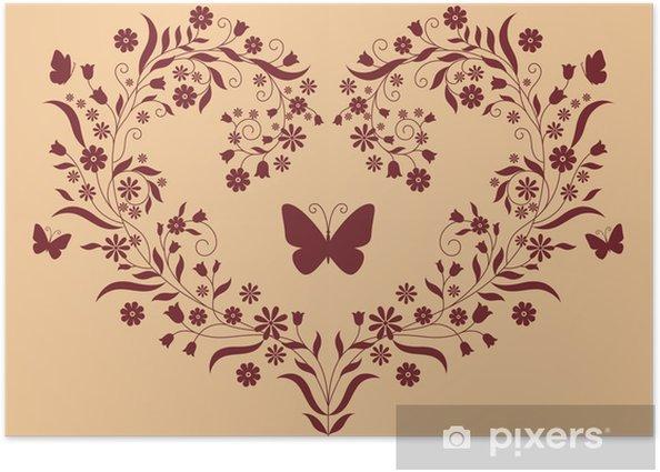 Plakat Serce z kwiatów - Rośliny