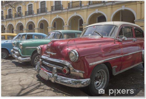 Plakat Seria Starych Amerykańskich Samochodów Z Lat 50 Tych W Hawanie Kuba