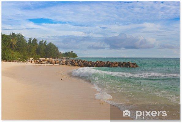 Plakat Seszele tropikalnej plaży o zachodzie słońca - Wakacje