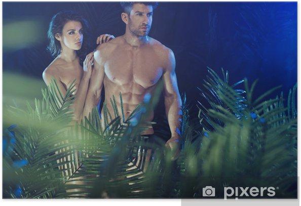 Plakát Sexy pár mezi tropickými rostlinami - Páry