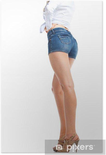 Plakát Sexy žena nohy Jean šortky, na bílém pozadí - Témata