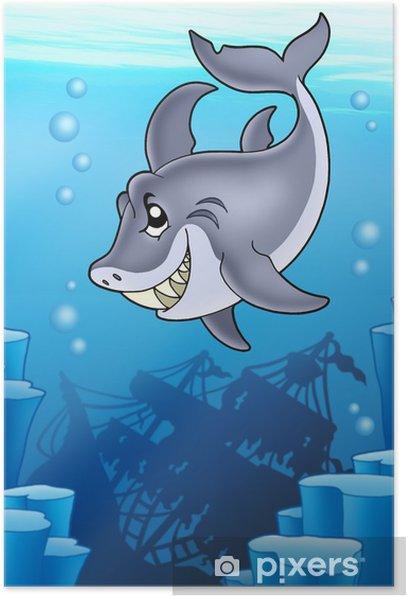 Plakat Shark z tajemniczą katastrofą - Zwierzęta żyjące pod wodą