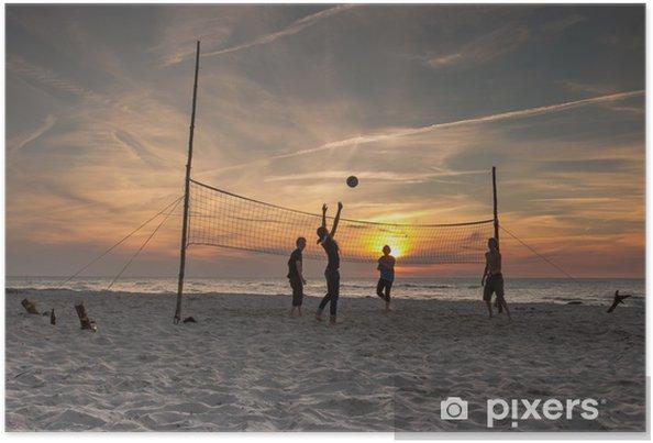 Plakat Siatkówka am Strand bei Sonnenuntergang - Siatkówka