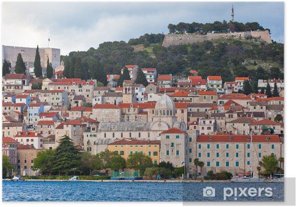 Plakat Sibenik, Chorwacja Widok z morza - Europa