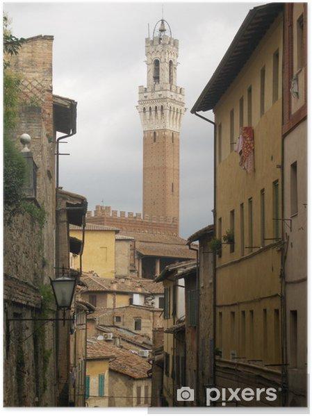 Plakat Siena del Mangia tower widok z zaułkach Palio - Wakacje