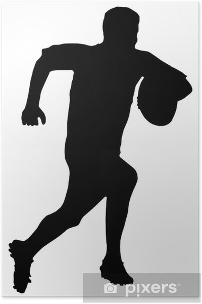 Plakat Silhouette Sport - Rugby Football Runner - Rugby