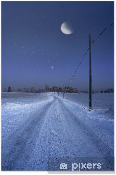 Plakát Silnice v zimě večer s měsícem - Roční období