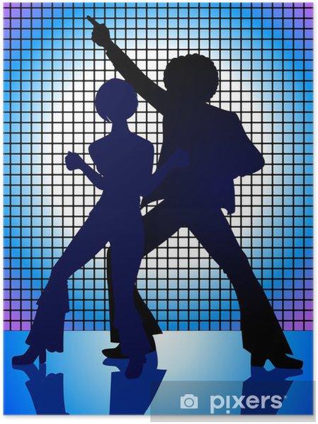 Plakát Silueta Ilustrace pár tance v 70. letech - Páry