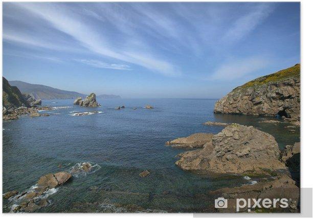 Plakat Skały w morzu w pobliżu wyspy Gaztelugatxe, Hiszpania - Wakacje