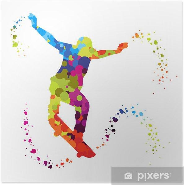 Plakat Skater z kolorowych kropek - Skateboarding