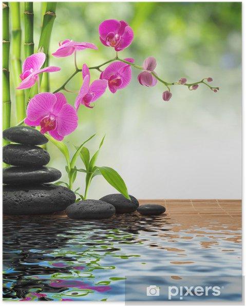 Plakat Skład bambusa-purpurowe orchidea-czarne kamienie - Style