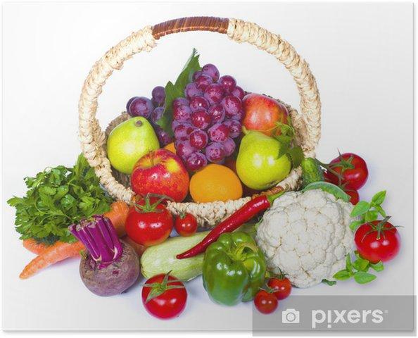 Plakat Skład owoców i warzyw w wiklinowym koszu - Posiłki