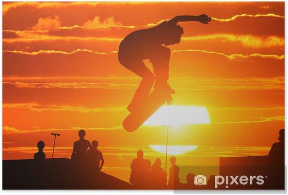 Plakat Skoki ekstremalne deskorolka chłopak wysokiej - Skateboarding