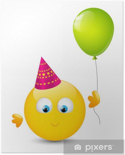 Plakat Śliczna buźka z błyszczącym balonu - Świętowanie