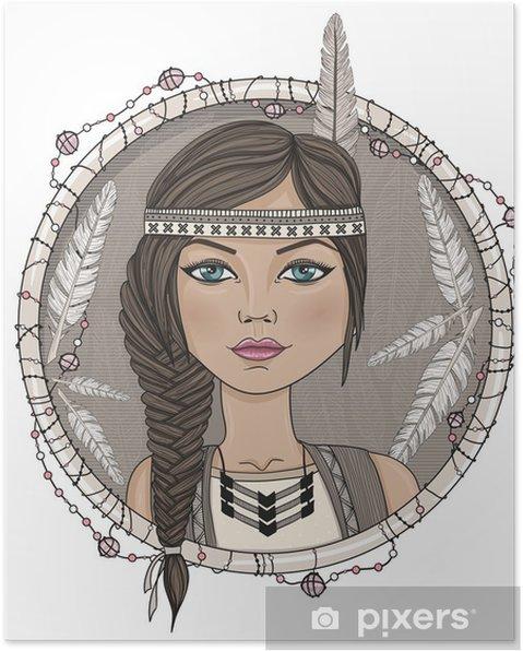 Plakat Śliczna dziewczyna i native american ramka pióra. - Dzieci