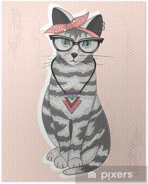 Plakat Śliczne hipster rockabilly kot z szalikiem głowy, okulary i necklac -