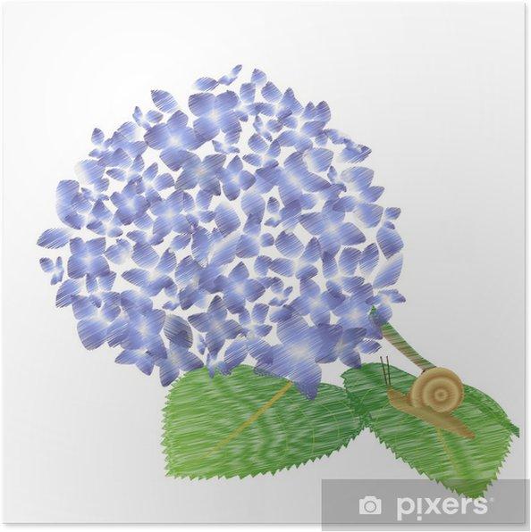 Plakat Ślimak - Kwiaty