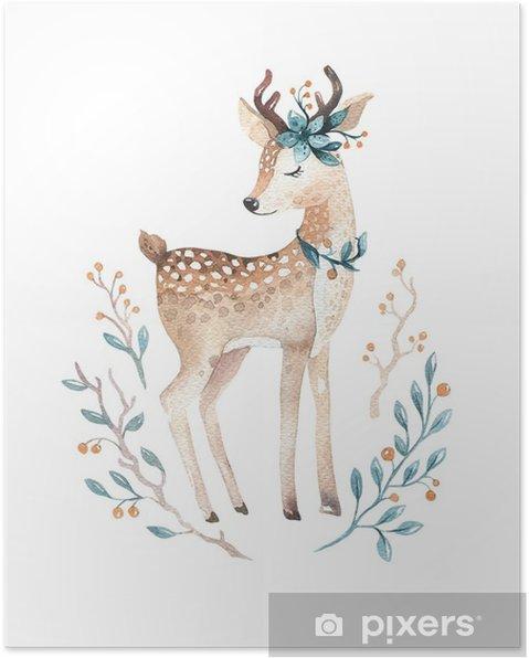 Plakat Słodkie Dziecko Zwierząt Jelenia Do Przedszkola Przedszkola Ilustracja Na Białym Tle Odzież Dla Dzieci Wzór Obraz Boho Z Akwareli Idealny