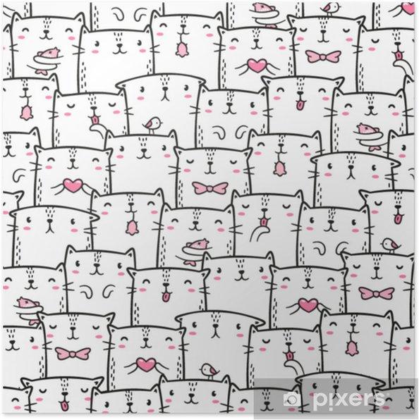 Plakat Słodkie Koty Gryzmoły Wzór Ręcznie Rysowane Stylu Projekt Do Druku Odzież Papier Pakowy Tło Plakat