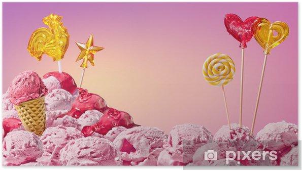 Plakat Słodkie magiczny krajobraz z lodów i cukierków - Tematy