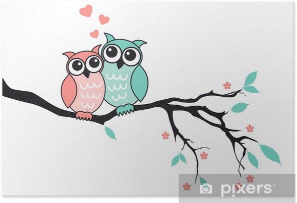 Plakat Słodkie sowy w miłości, wektor - Ptaki