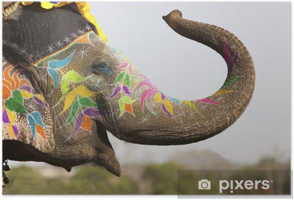 Plakat Słoń na festiwalu słonia w Jaipur - Azja