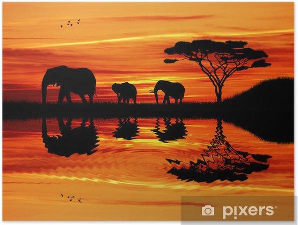 Plakat Słoń sylwetka na zachodzie słońca - Słonie