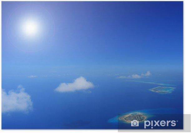Plakat Słońce i chmury nad wysp Laccadives morza, Malediwy - Azja