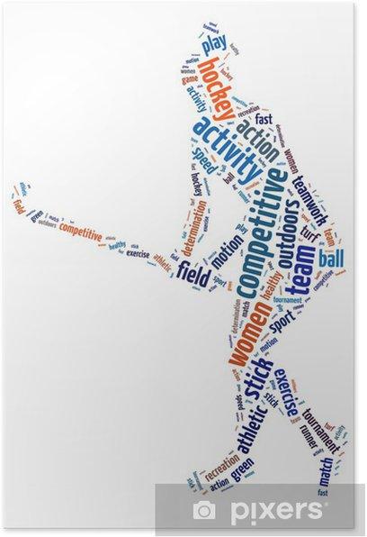Plakát Slova ilustrace ženy hrají ledního hokeje - Individuální sporty