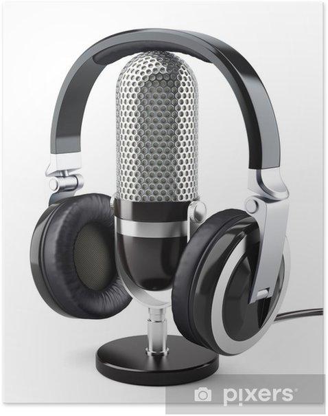 Plakat Słuchawki z mikrofonem - Znaki i symbole