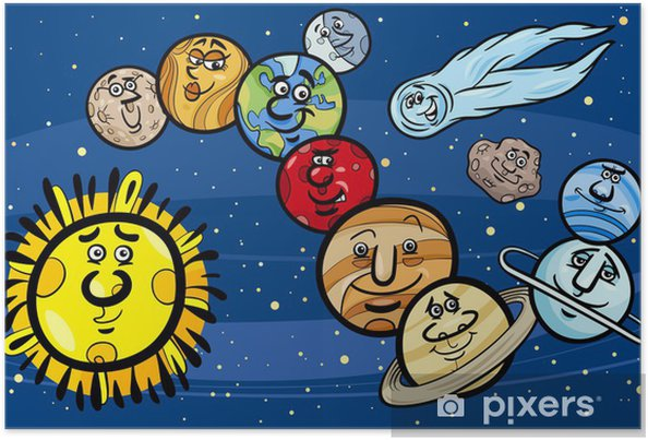 Plakat Slunecni Soustava Planet Kreslene Ilustrace Pixers