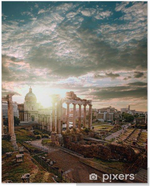 Plakat Słynne rzymskie ruiny w Rzymie, stolicy Włoch -