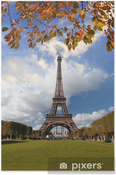 Plakat Słynny Łuk Triumfalny jesienią, Paryż, Francja - Miasta europejskie