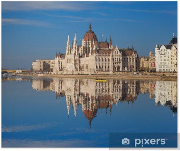 Plakat Słynny parlament z rzeki w Budapeszt, Węgry - Europa