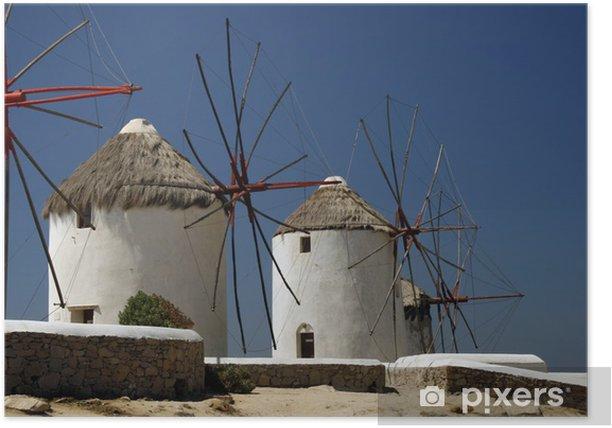 Plakat Słynny Wiatraki Mykonos Island, Grecja - Europa