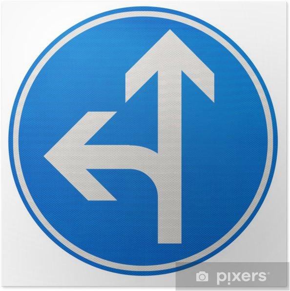 Plakát Směry obligatoires tout droit ou à gauche - Značky a symboly