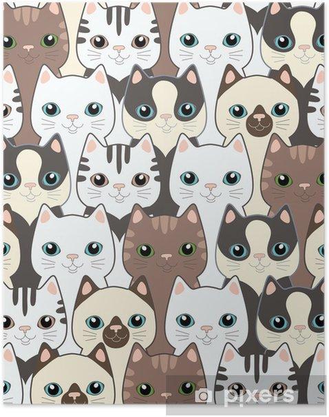 Plakat Śmieszne koty kreskówek. powtarzalne wzór - Tematy