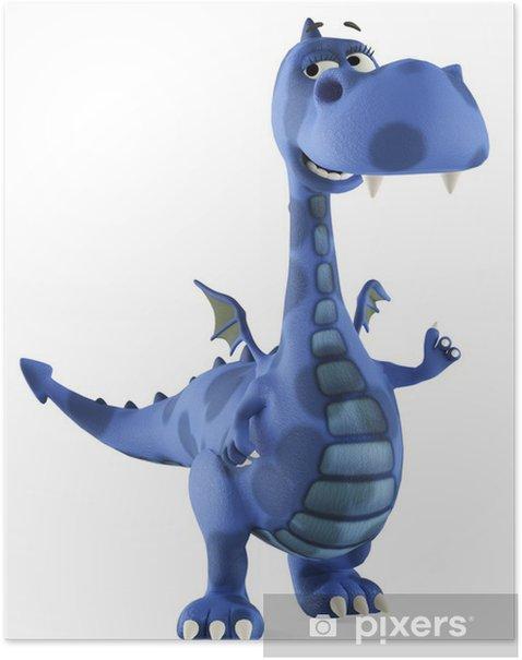 Plakat Smok niebieski dino dziecko uśmiechnięte - Naklejki na ścianę