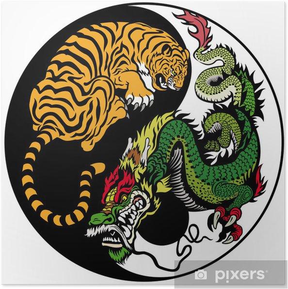 Plakat Smoka I Tygrysa Symbol Yin Yang