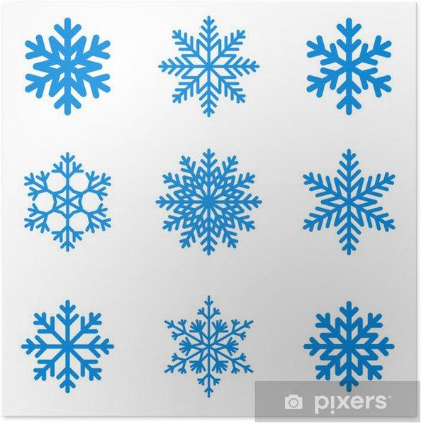 Plakát Sněhové vločky ikony kolekce. Vektorový tvar. - Mezinárodní svátky