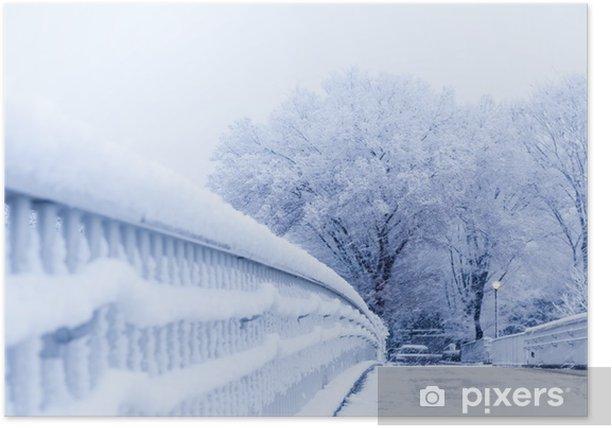 Plakat Śnieg, śnieg sceny, pokryte śniegiem w Japonii - Pory roku