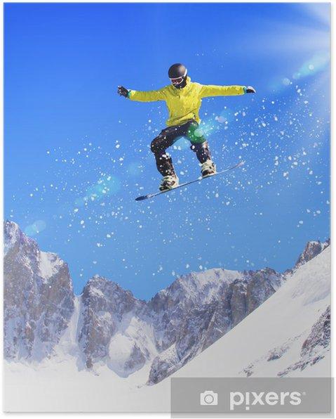 Plakát Snowboardista ve skoku - Zima