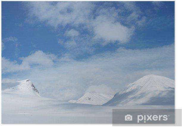 Plakat Snowy góry w Kungsleden Laponii, na północ, Szwecji - Natura i dzicz