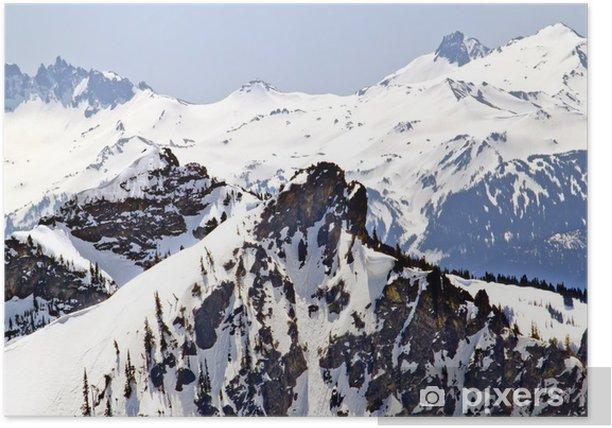 Plakat Snowy kryształ górski grzbiet linie - Góry