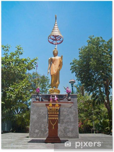 Plakát Socha Buddhy Abhaya Mudra držení těla s odstupňovanou deštníkem - Náboženství