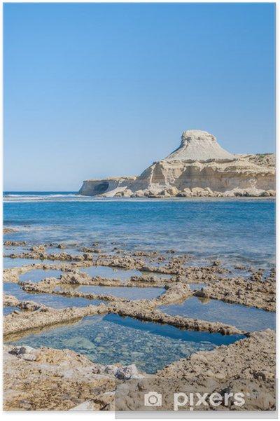 Plakát Solné pánve v blízkosti Qbajjar Gozo, Malta. - Evropa