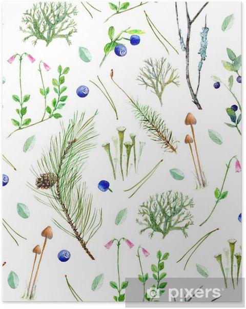 Plakat Sosnowy las kwiatów bezszwowe pattern.Watercolor ilustracji z jagód, gałęzi drzew iglastych, pinecone, mchu, grzybów, lichen.Watercolor Ręcznie rysowane ilustracji. - Rośliny i kwiaty
