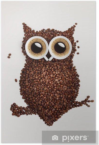Plakat Sowa kawy. -