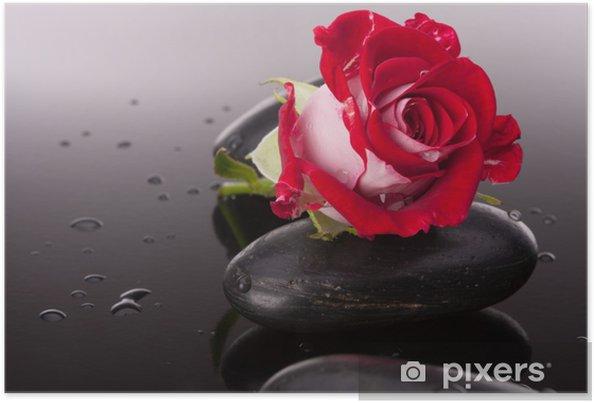 Plakát Spa kámen a květy růže zátiší. Zdravotní péče koncept. - Témata